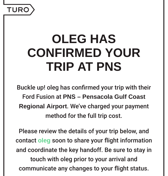 Turo Car Rental Confirmation