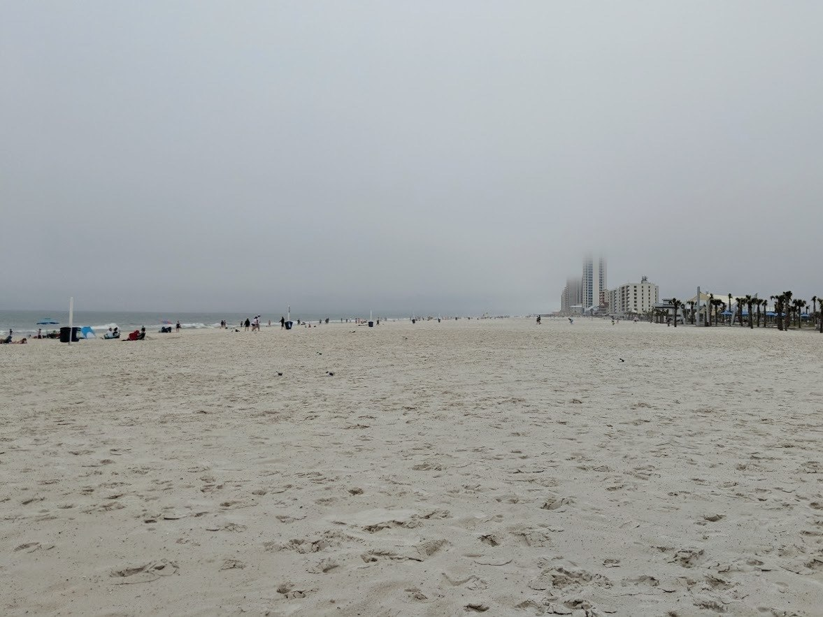 gloomy gray day at the beach in gulf shores alabama