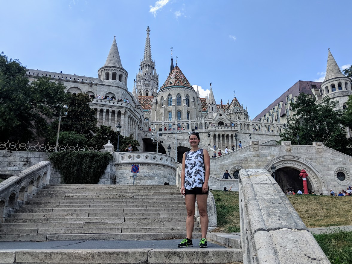 becky on steps of fisherman's bastion