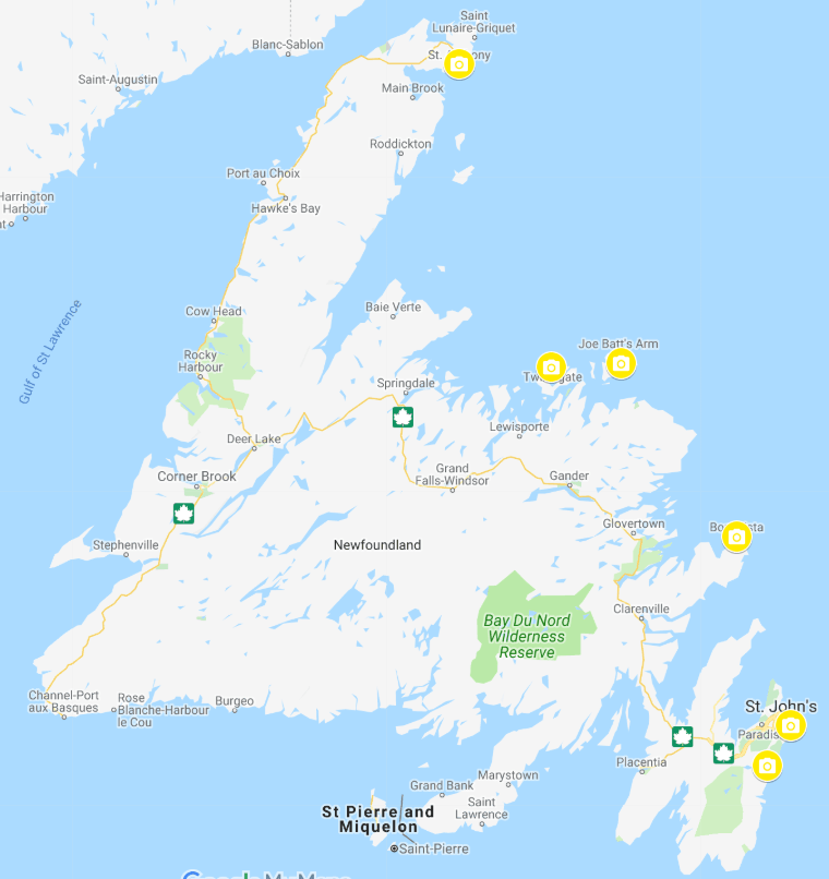 map of newfoundland with popular viewing spots labeled