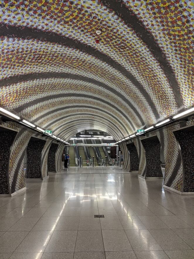 art inside gellert metro station in budapest