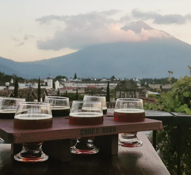 flight of six beers at antigua brewing company