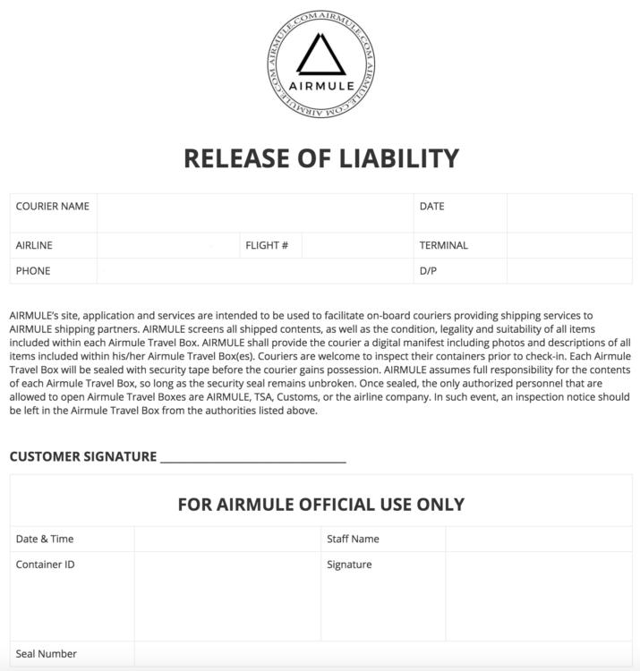 airmule liability form