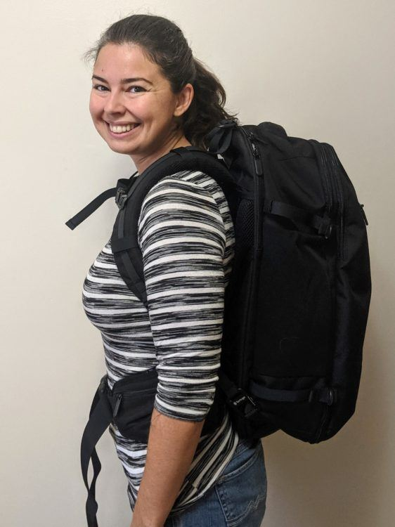 woman wearing the tortuga setout backpack