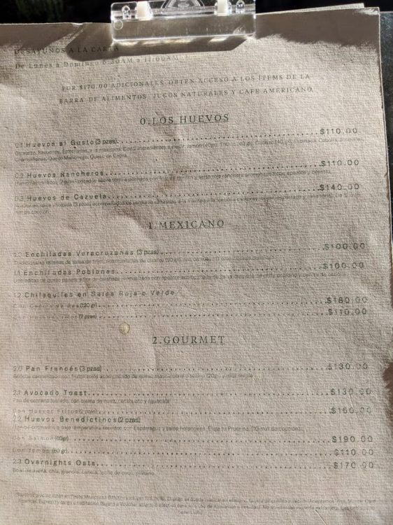 hotel umbral breakfast menu