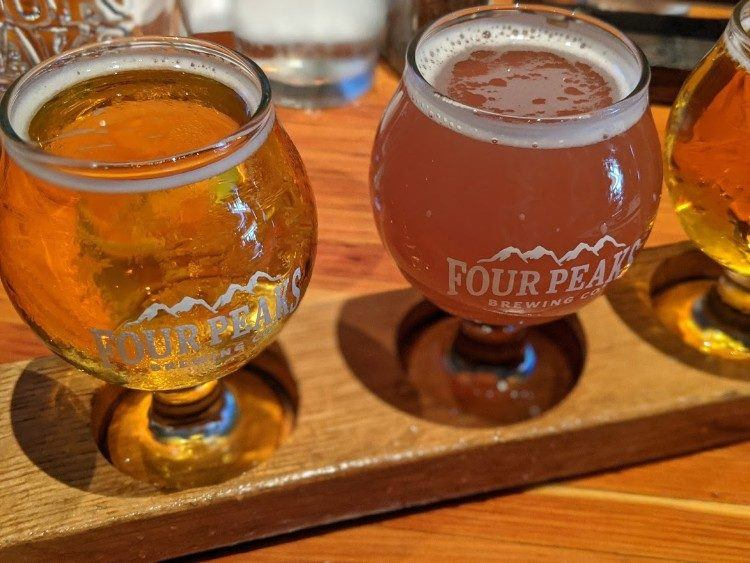 flight of beer at four peaks brewing company