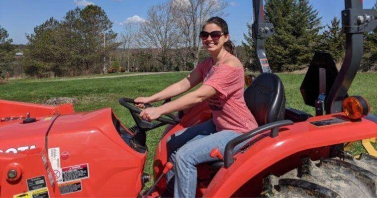 farmer becky on a tractor