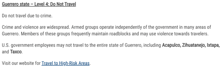 Taxco Guerrero Travel Warning screenshot