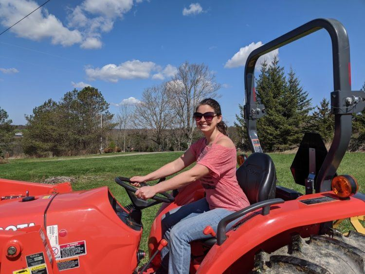 becky sitting on tractor
