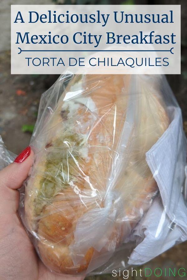 torta de chilaquiles close up