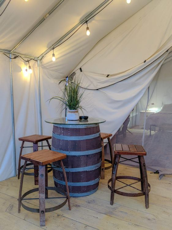 Wine Barrel Table Glamping