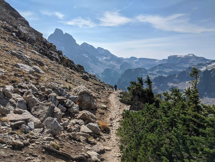 downhill trail in mountains