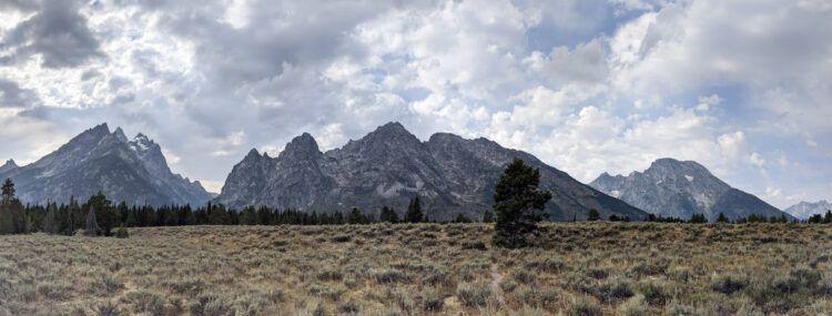 panorama of tetons