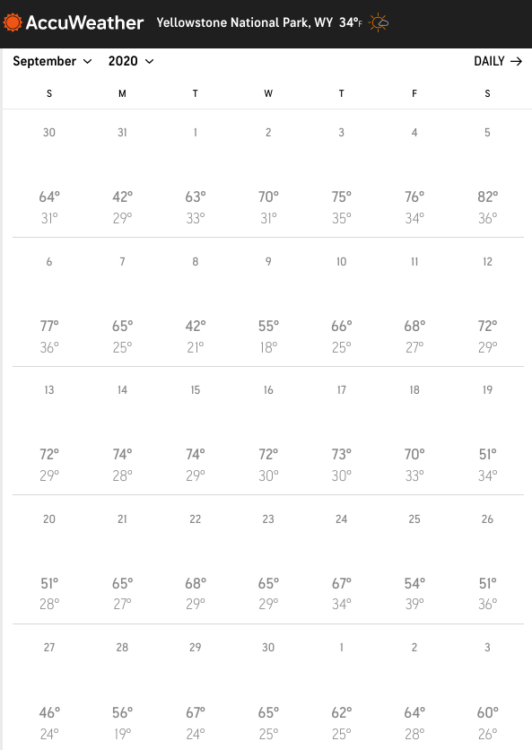 weather calendar for yellowstone in september