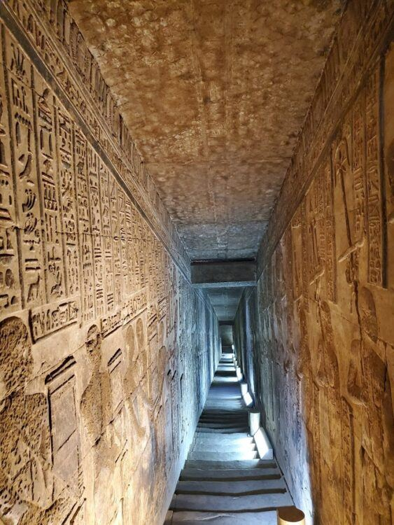 corridor in dendera temple of hathor