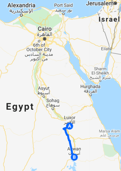 egypt map route luxor to aswan