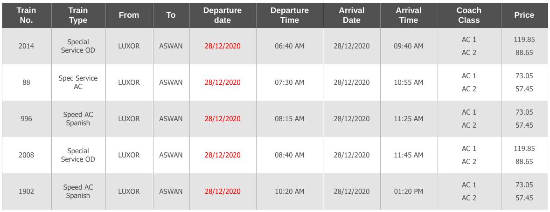 luxor to aswan train schedules