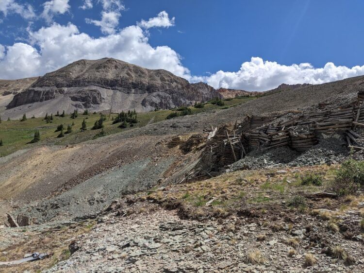 Mine ruins with a gorgeous mountain backdrop