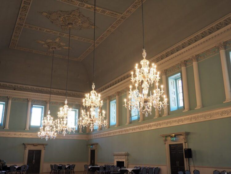 chandeliers in the assembly rooms as seen in bridgerton