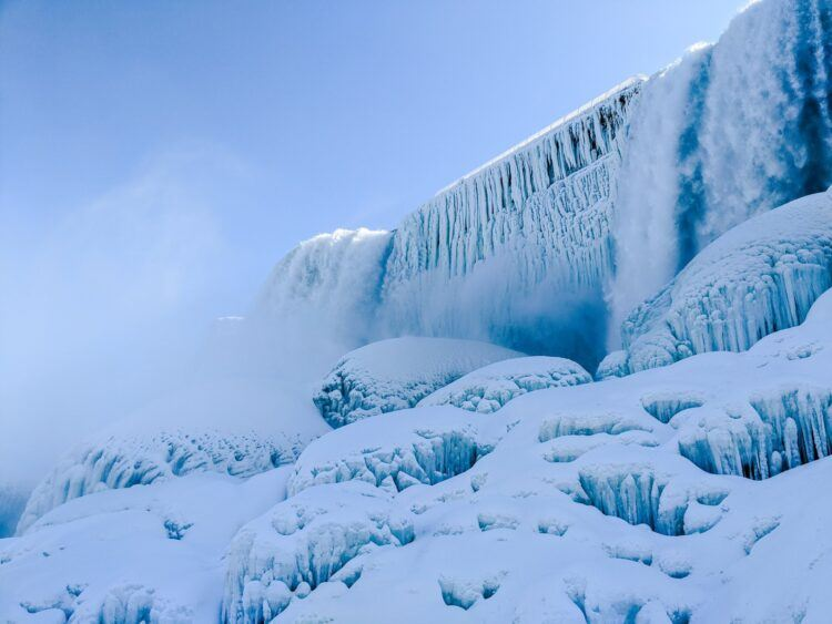 waterfalls covered in ice
