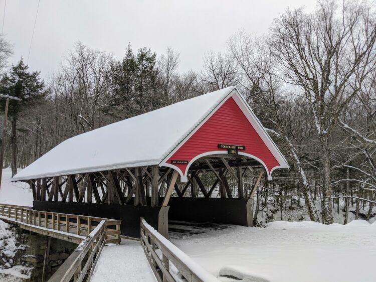 covered bridge franconia notch winter