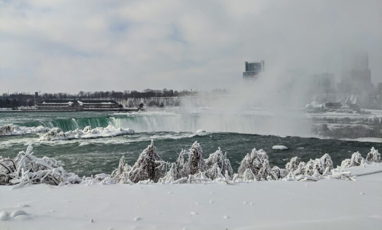 brink of the falls in winter