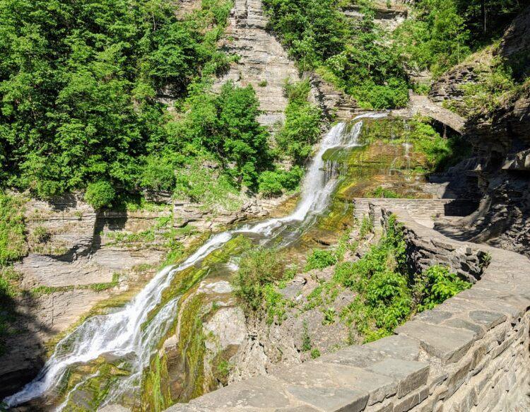 long waterfall along robert tremain state park trail