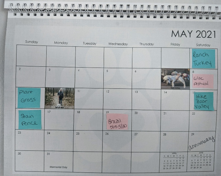 calendar with post it notes