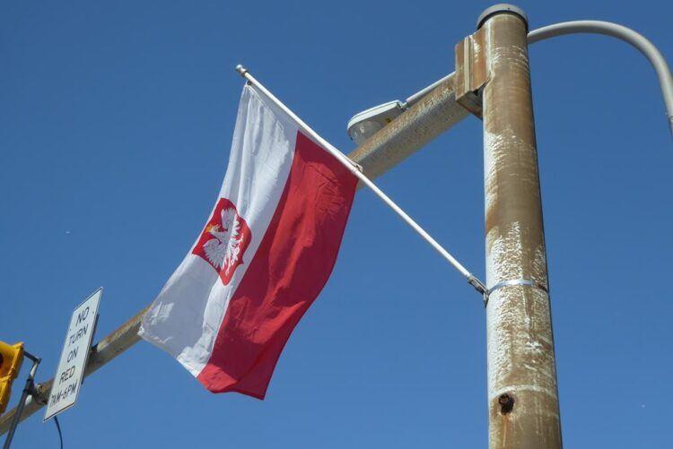 polish flag on buffalo street pole